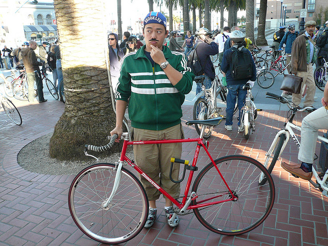 Despite the stereotype, most bicycle commuters are not hipsters. Image via flickr/Dennis Yang.