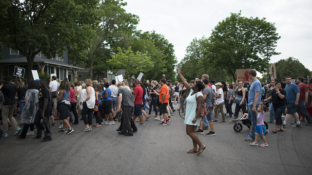 Protesters appear at the Minnesota Governor's Mansion following the shooting death of Philando Castile during a traffic stop in Falcon Heights, Minn. July 7. Image via flickr/Fibonacci Blue.