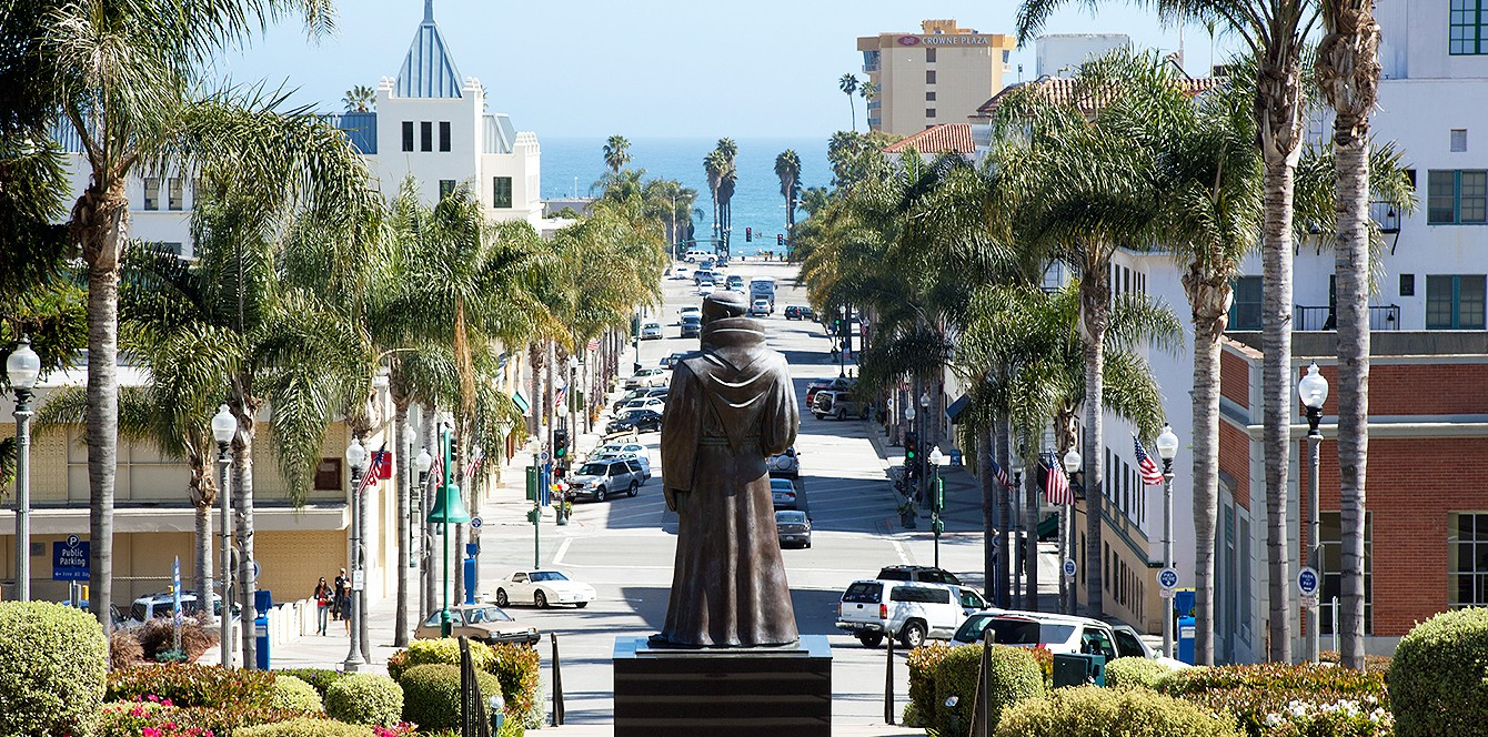 The statue of Father Serra in front of Ventura City Hall before it was removed.