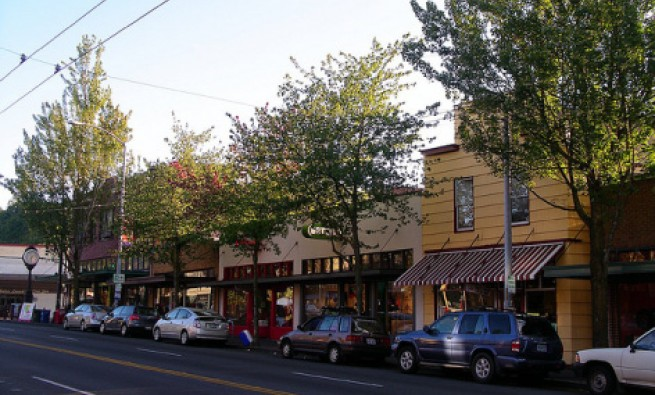 Street shops in Columbia City