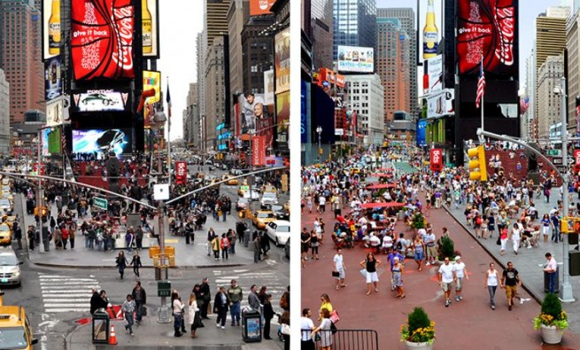 Before and after photos of Times Square