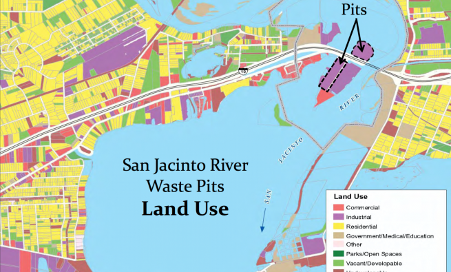 San Jacinto River waste pits map