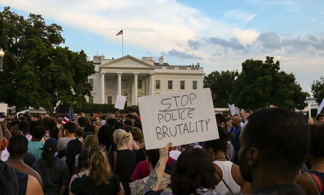 Protesters at the White House over police brutality