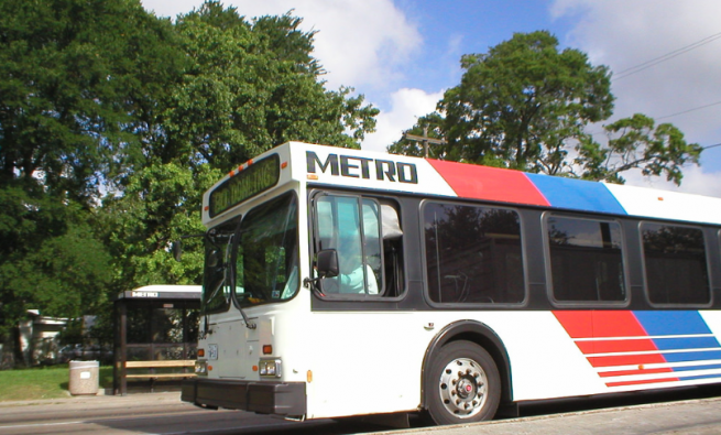 A view of the front half of a Houston Metro bus
