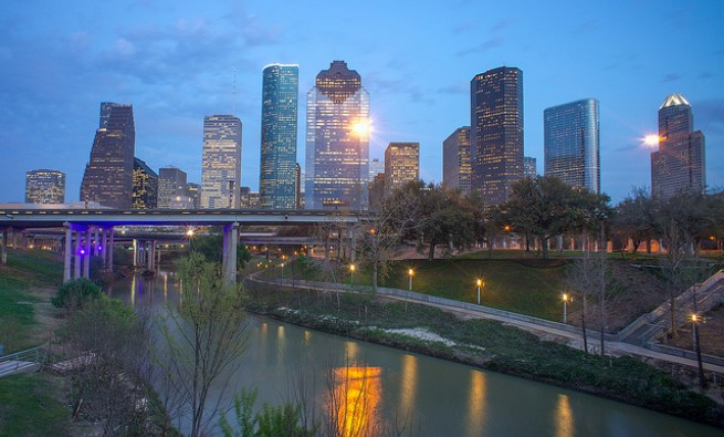 Photo of the Houston skyline at dusk