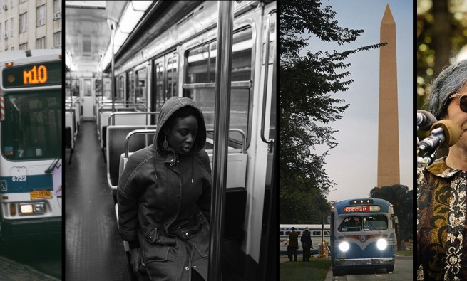 Collage of images for blog series on race, equity and public transit