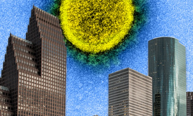 "COVID-19 ""sun"" over downtown Houston"