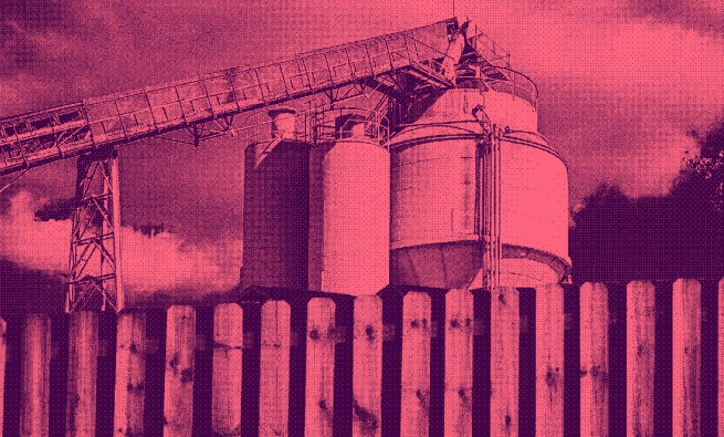 photo illustration for story about concrete batch plants in Harris County residential areas