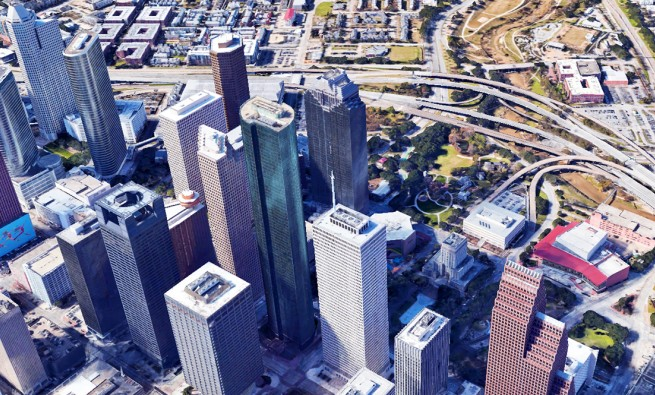View of Downtown Houston from Google Earth