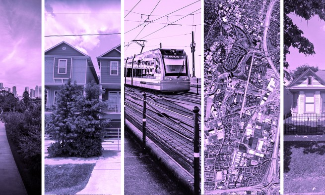 photo collage related to affordable housing in houston