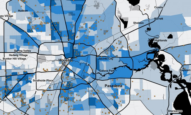 Map showing households using housing vouchers in the Houston area
