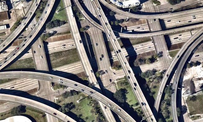 aerial photo of US 59, 45 and 288 near downtown Houston