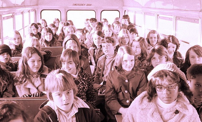 Students ride the bus from the suburbs to school in Charlotte, North Carolina, in 1973, as part of school desegregation efforts.