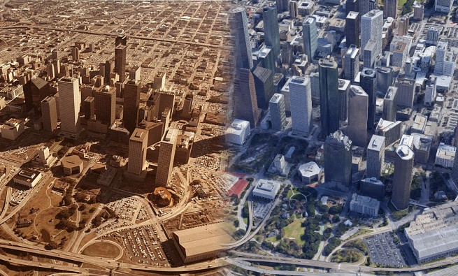Downtown Houston in 1977 and today