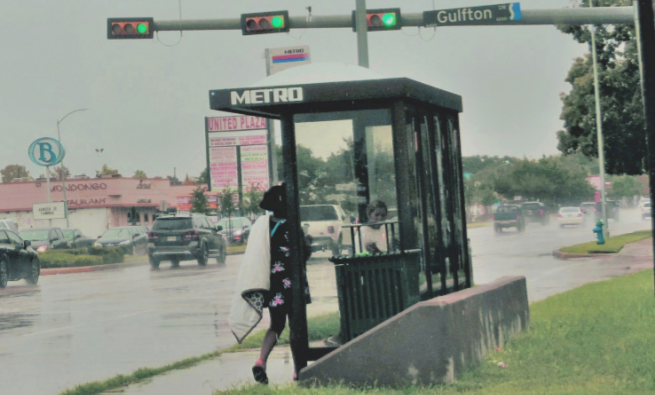 Women waiting at a bus stop