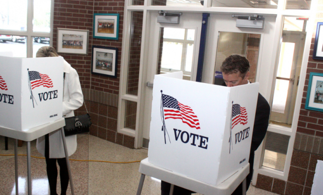 Image of people voting