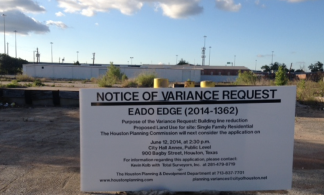 Notice of Variance Request sign