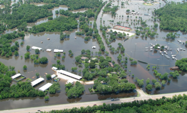 Houston 2015 flooding, aerial view