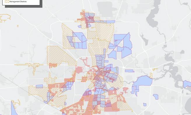 Map of designated zones alongside TIRZs and management districts in the Houston area