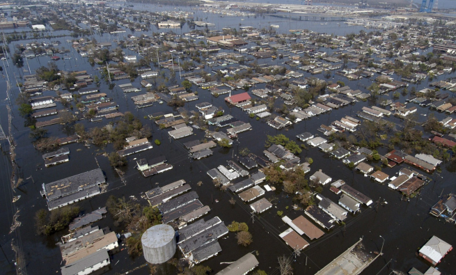 New Orleans flooding, aerial view