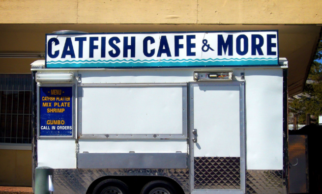 A food truck selling catfish