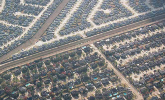 Aerial view of Houston suburbs