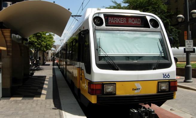 Dallas light rail train