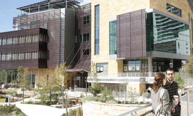 Exterior of Austin Central Library with people