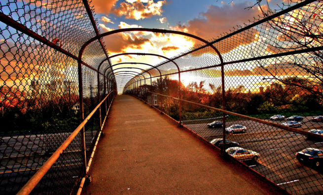 Twin Cities pedestrian bridge over highway