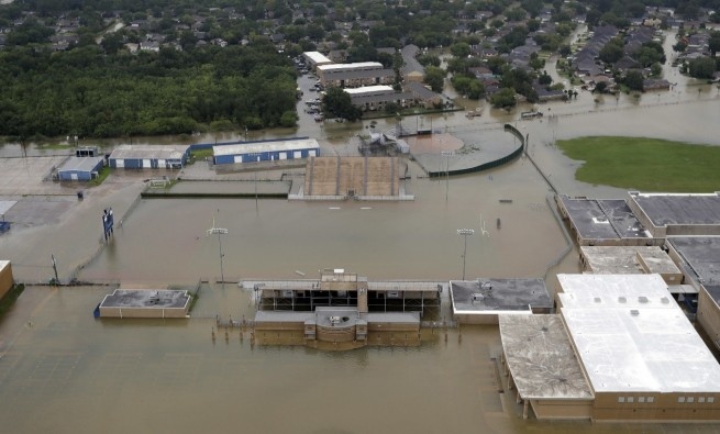 CE King High School's football stadium covered by floodwaters from Tropical Storm Harvey Tuesday, August 20, 2017