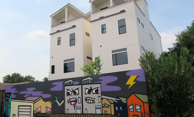 artwork showing townhomes as monsters