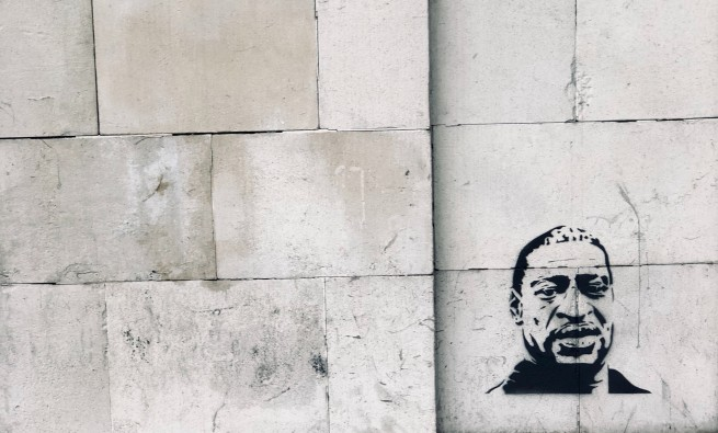 George Floyd on wall in London