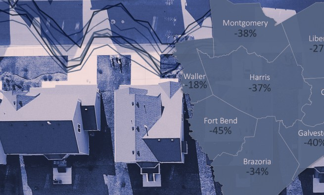 photo illustration for HARC research showing mobility in Houston metro area counties during pandemic