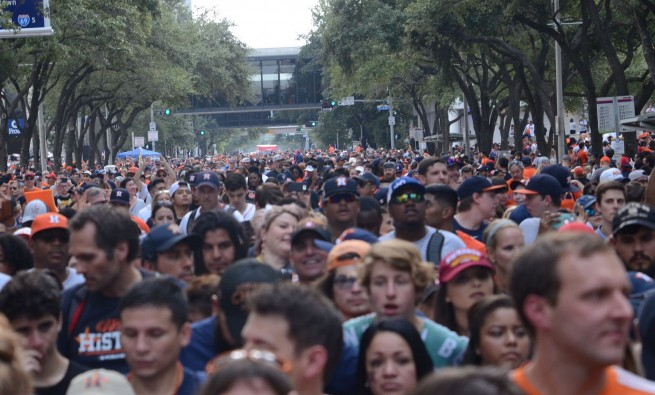 Crowd at Houston Astros World Series Parade by Flickr user Wittlz