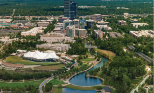 Aerial view of The Woodlands