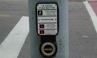 To cross press button sign with button