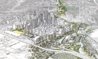 Rendering of Pierce Elevated becoming a park in Houston