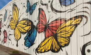 mural featuring butterflies