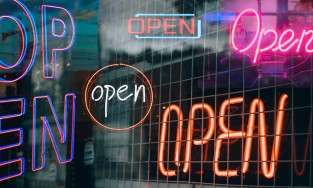 many neon open signs