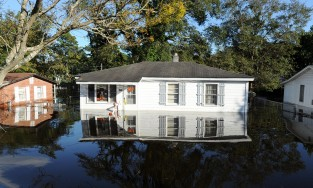 flooded homes in North Carolina following Hurricane Matthew