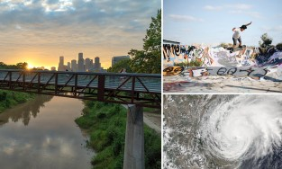 buffalo bayou park, skater in the East End and Hurricane Harvey