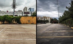 Parking lots in East Downtown area of Houston