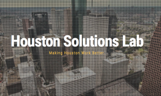 Image of downtown Houston with the words Houston Solutions Lab overlaid on top