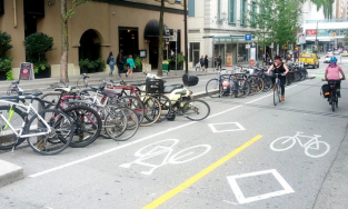 Image of bike lanes on a city street