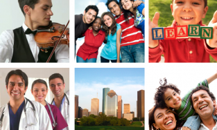 Scenes of doctors, friends, families, musicians and Houston skyline
