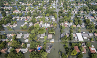 Aerial view of flooding in southeast Houston