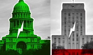 State capitol in Austin and Houston city hall
