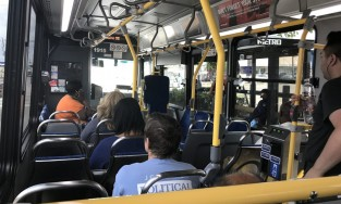 View of the inside of a bus