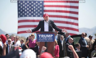 Republican presidential nominee speaks at a rally in Arizona earlier this year. Image via flickr/Gage Skidmore.